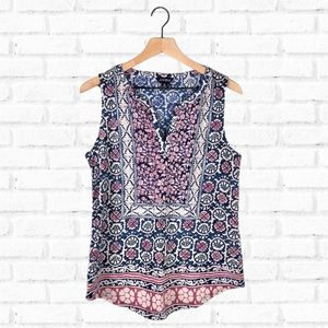 Lucky Brand Blue and Pink Print Sleeveless Top